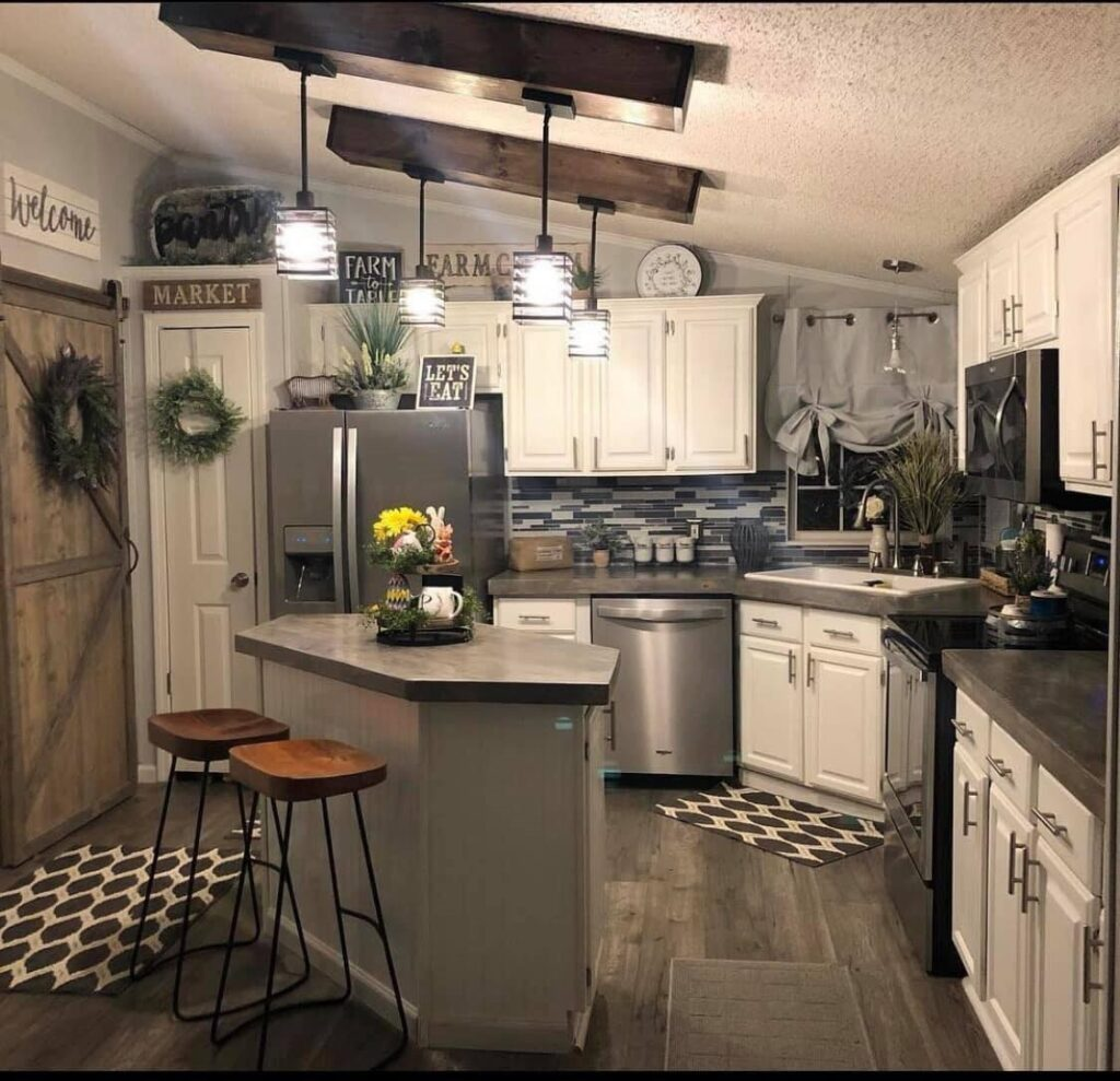 Double Wide Mobile Home Kitchen Makeover Farmhouse Style   The ...