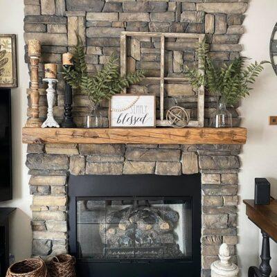 Stone Fireplace Farmhouse Makeover