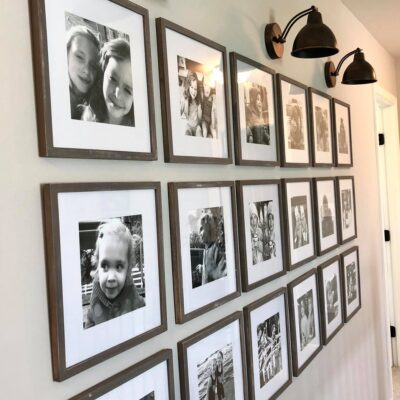 Photo Gallery Wall with Light Sconces
