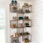 Old Metal Milk Crate Shoe Cubbies