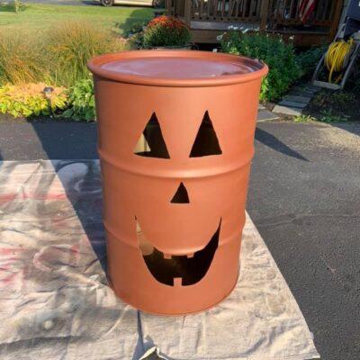 Gallon Drum Pumpkin Light