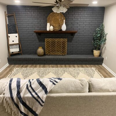 Whole Brick Wall Fireplace Farmhouse Makeover