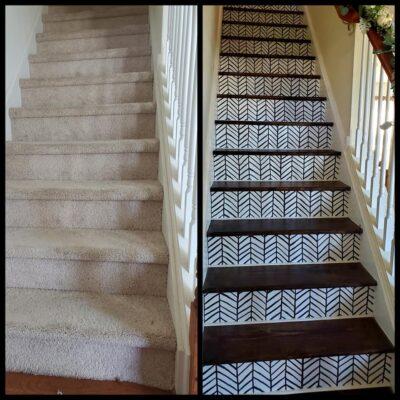 Carpet Stairs Makeover Using Vinyl