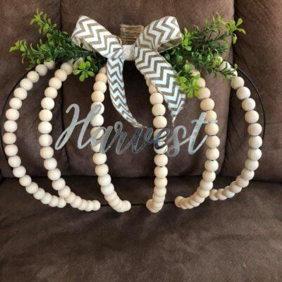 Dollar Tree Pumpkin Wire Wreath Using Wood Beads