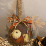 Dollar Tree Strainer Stuffed Pumpkin Decoration