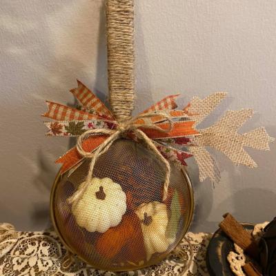 Dollar Tree Strainer Stuffed Pumpkin Decoration