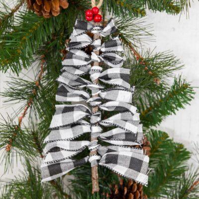 Farmhouse Ribbon Twig Tree Ornament
