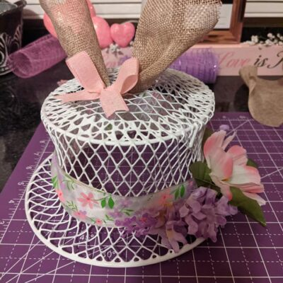 Dollar Tree Wire Basket Trash Can Easter Bonnet