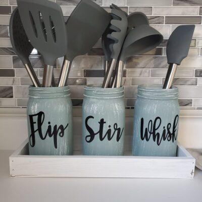 DIY Mason Jar Kitchen Utensil Holder