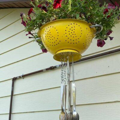 DIY Colander Planter Wind Chime